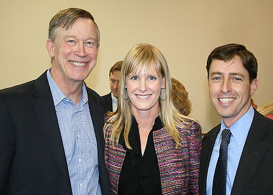 Governor Hickenlooper with Christine and Bill Jaeger of the Colorado Children's Campaign for the signing on HB 1317 Pay for Success, May 2015.